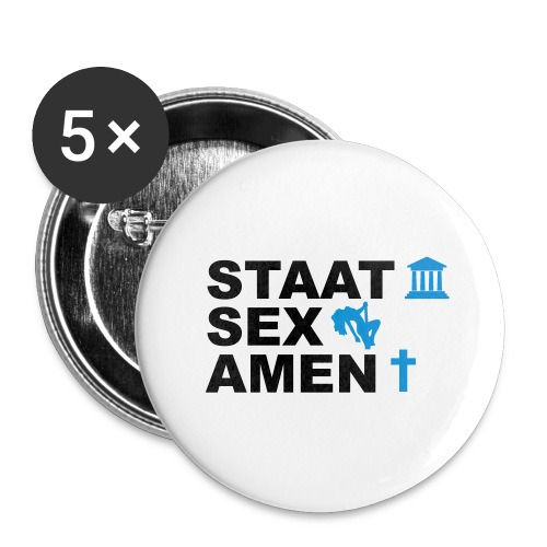 Staatsexamen / Staat Sex Amen - Buttons groß 56 mm (5er Pack)