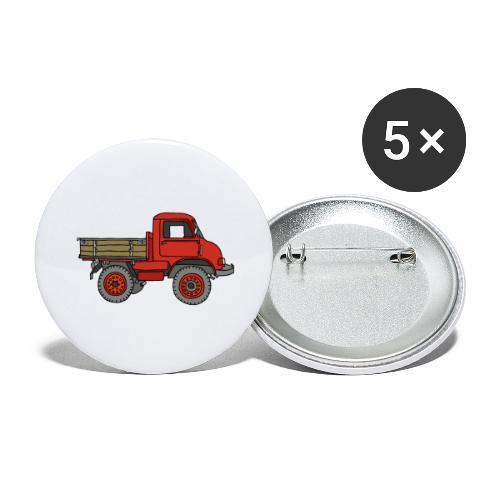 Roter Lastwagen, LKW, Laster - Buttons groß 56 mm (5er Pack)