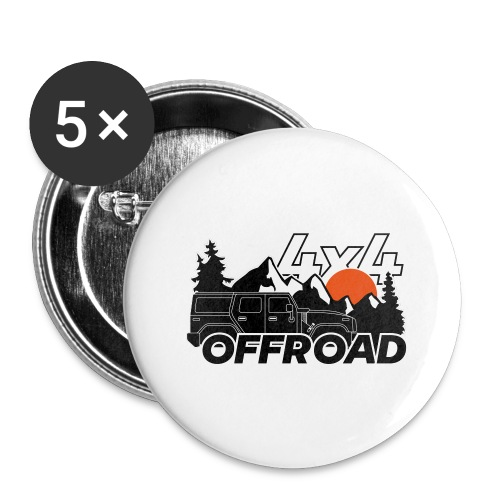 Offroad 4x4 Jeep Logo - Buttons groß 56 mm (5er Pack)