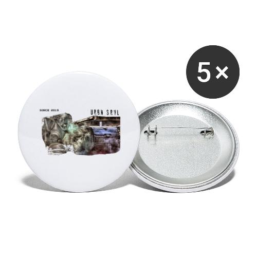 gas mask 2 black - Buttons groß 56 mm (5er Pack)