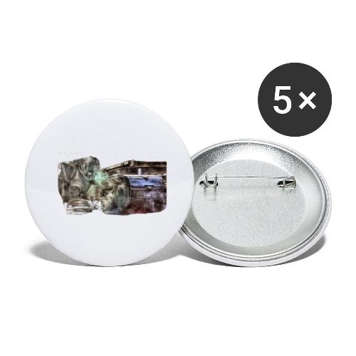 gas mask 2 white - Buttons groß 56 mm (5er Pack)