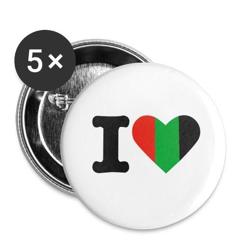 hartjeroodzwartgroen - Buttons groot 56 mm (5-pack)