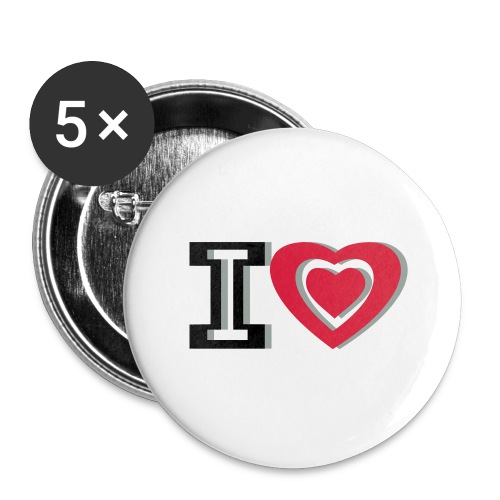 I LOVE I HEART - Buttons large 2.2''/56 mm(5-pack)
