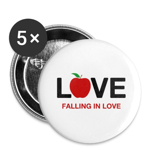 Falling in Love - Black - Buttons large 2.2''/56 mm(5-pack)
