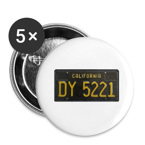 CALIFORNIA BLACK LICENCE PLATE - Buttons large 2.2''/56 mm (5-pack)