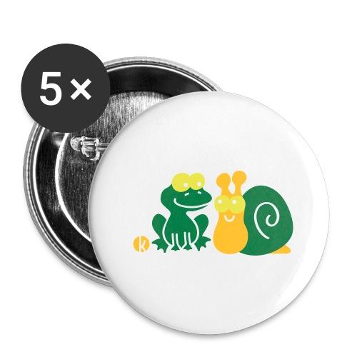 Frosch und Schnecke (c2) Freundschaft - Buttons groß 56 mm (5er Pack)