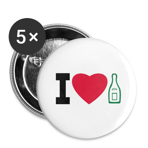 i love champagne - Buttons large 2.2''/56 mm(5-pack)