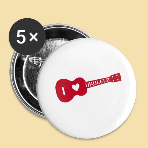 I love UKULELE - Buttons groß 56 mm (5er Pack)