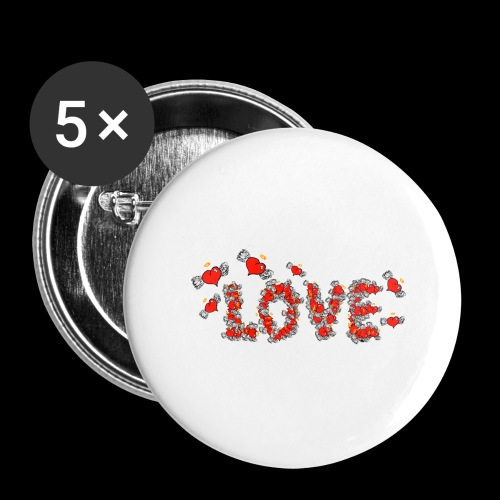 Flying Hearts LOVE - Buttons/Badges stor, 56 mm (5-pack)