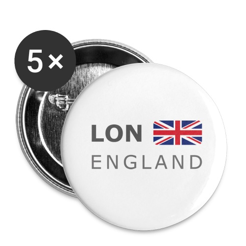 LON ENGLAND BF dark-lettered 400 dpi - Buttons large 2.2''/56 mm(5-pack)