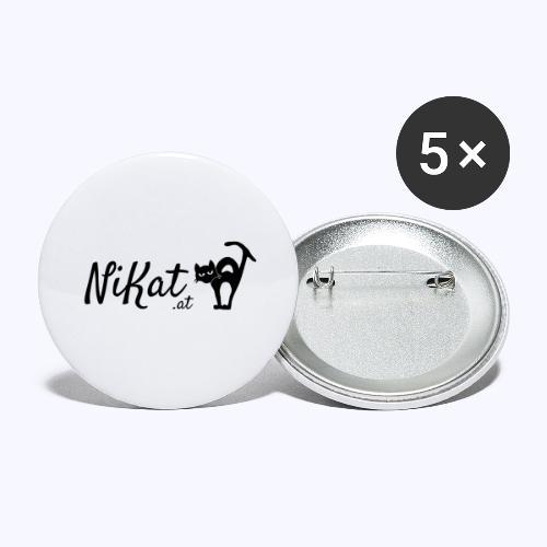 Nikat logo schwarz - Buttons groß 56 mm (5er Pack)