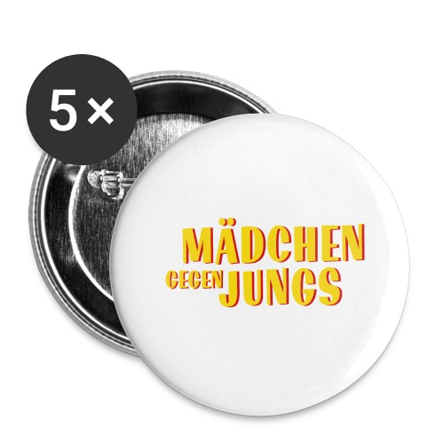 Mädchen gegen Jungs - Buttons groß 56 mm (5er Pack)