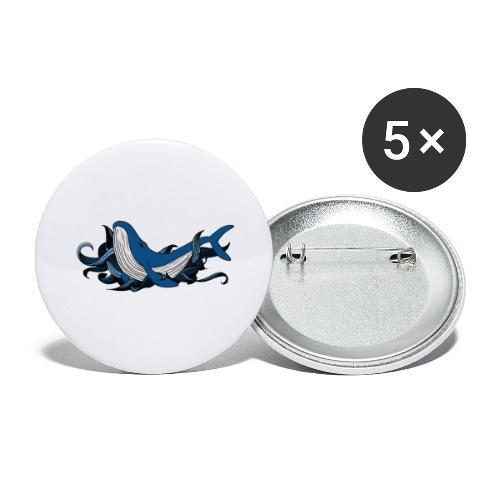 Doodle ink Whale - Confezione da 5 spille grandi (56 mm)