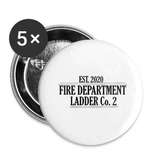 Fire Department - Ladder Co.2 - Buttons/Badges stor, 56 mm (5-pack)
