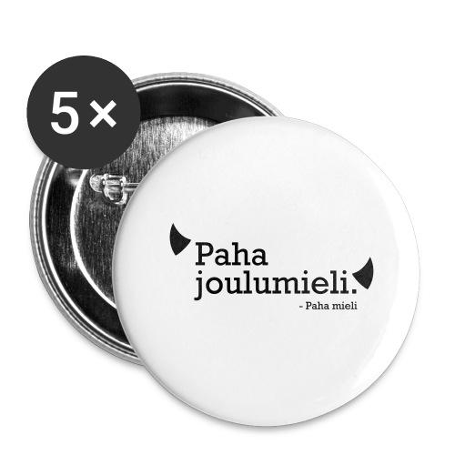 Paha joulumieli - Rintamerkit isot 56 mm (5kpl pakkauksessa)