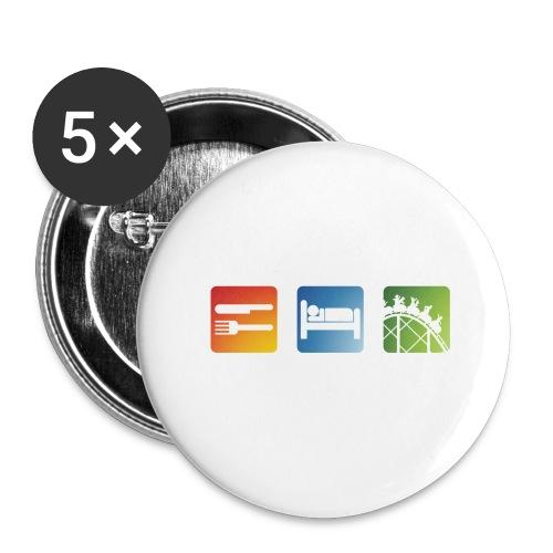 Eat, Sleep, Ride! - T-Shirt Schwarz - Buttons groß 56 mm (5er Pack)