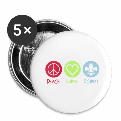 Peace Love Scout - Lot de 5 grands badges (56 mm)