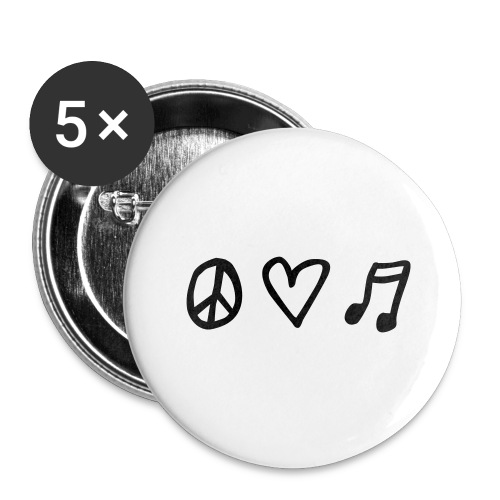 Peace, love & music - Buttons groß 56 mm (5er Pack)
