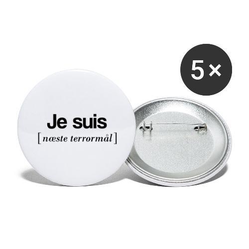 Je suis (sort skrift) - Buttons/Badges stor, 56 mm (5-pack)