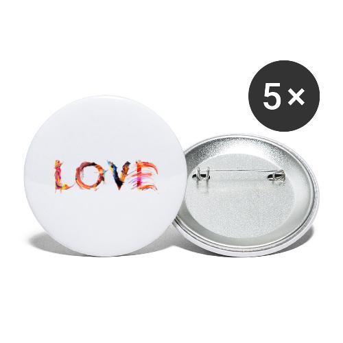 Love - Lot de 5 grands badges (56 mm)