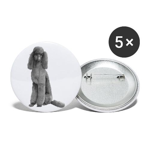 poodle standard black / kongepuddel sort - Buttons/Badges stor, 56 mm (5-pack)