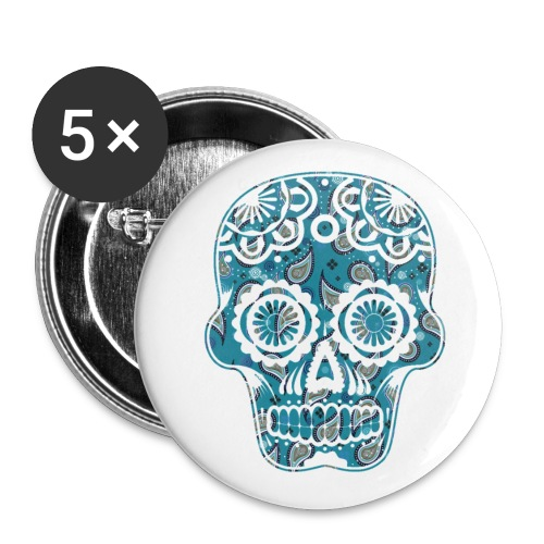 paisleyskulldarkblue - Buttons large 2.2''/56 mm (5-pack)