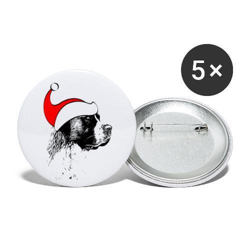 Weihnachten Bernhardiner Hunde Geschenkidee Design - Buttons groß 56 mm (5er Pack)