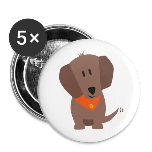 Dackel Oskar - Buttons groß 56 mm (5er Pack)