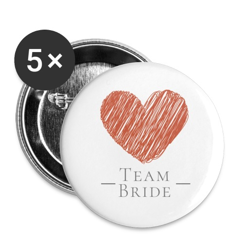 [For Bridesmaid] Team Bride - Red Heart - Buttons groß 56 mm (5er Pack)