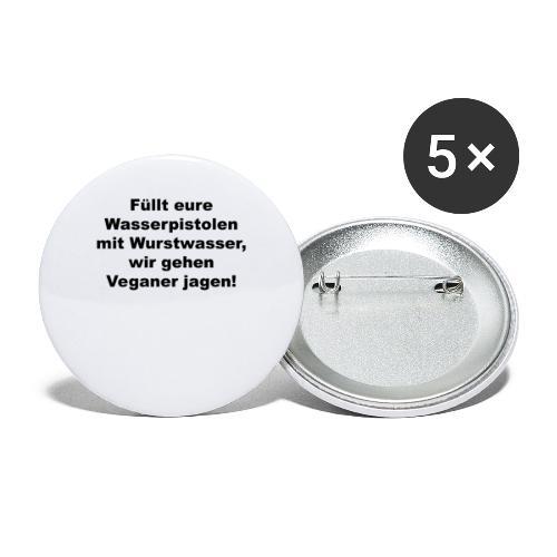 Wasserpistole mit Wurstwasser füllen - Buttons groß 56 mm (5er Pack)