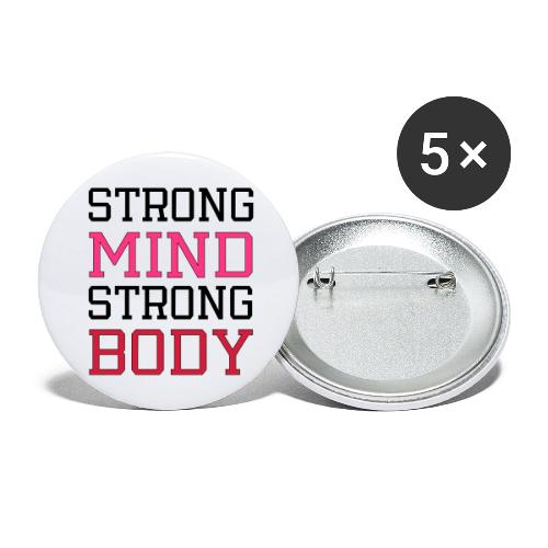 strong mind strong body - Buttons/Badges stor, 56 mm (5-pack)