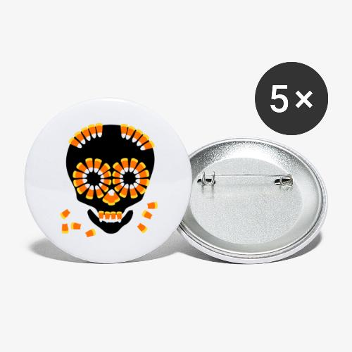 Skull Candy Corn HallOWeen by patjila - Buttons large 2.2''/56 mm(5-pack)