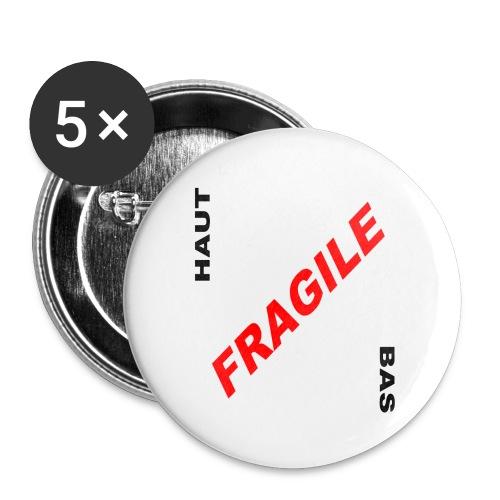 FRAGILE - Lot de 5 grands badges (56 mm)
