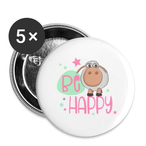 Be happy Schaf - Glückliches Schaf - Glücksschaf - Buttons groß 56 mm (5er Pack)