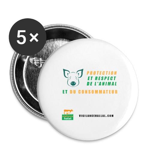 protection-cochon - Lot de 5 grands badges (56 mm)