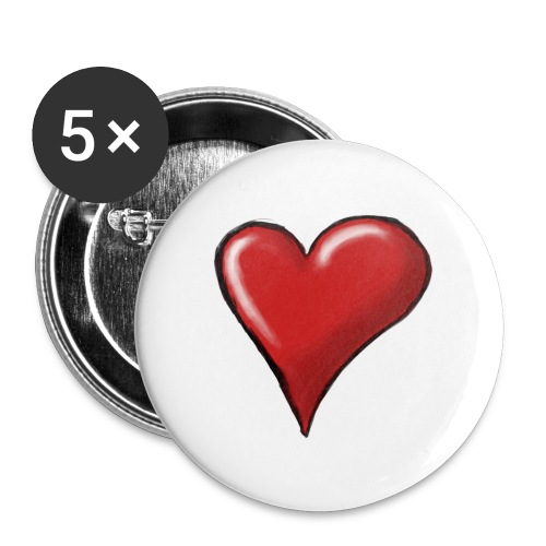 Love (coeur) - Lot de 5 grands badges (56 mm)