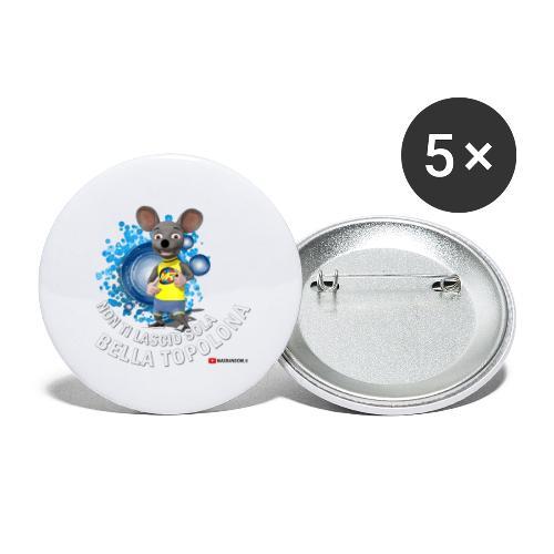 Bella Topolona testo Bianco - Confezione da 5 spille grandi (56 mm)