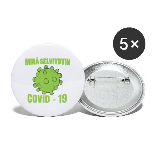 Minä selviydyin - COVID-19 - Rintamerkit isot 56 mm (5kpl pakkauksessa)