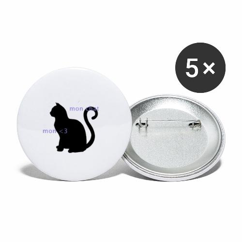 Mon Chat Mon <3 - Lot de 5 grands badges (56 mm)