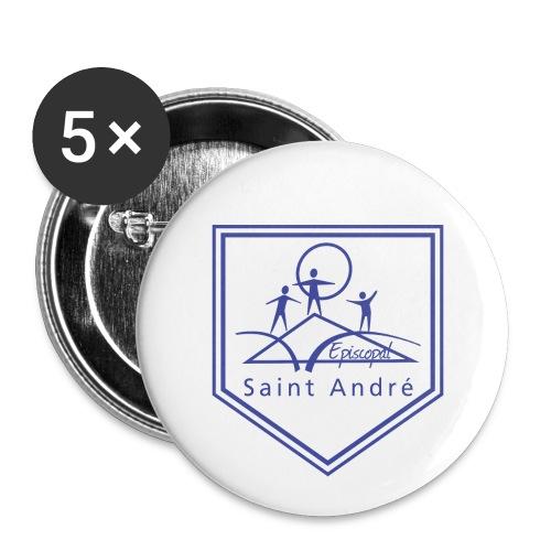 Blason bleu - Lot de 5 grands badges (56 mm)