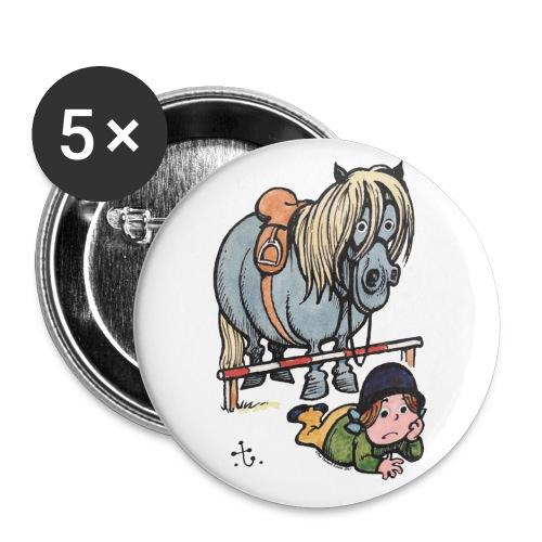 Thelwell Reiterin Liegt Hinter Dem Sprung - Buttons groß 56 mm (5er Pack)