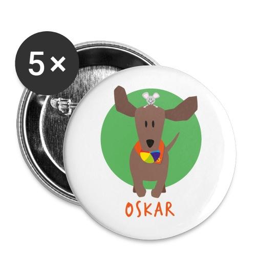 Dackel Oskar mit Maus Fridolin - Buttons groß 56 mm (5er Pack)
