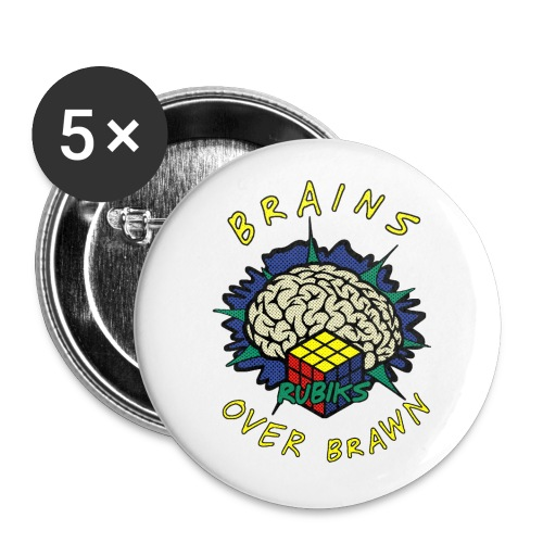 Rubik's Cube Brains Over Brawn - Buttons large 2.2''/56 mm(5-pack)