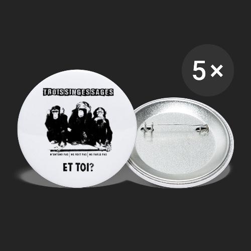 Three wise monkeys - Lot de 5 grands badges (56 mm)
