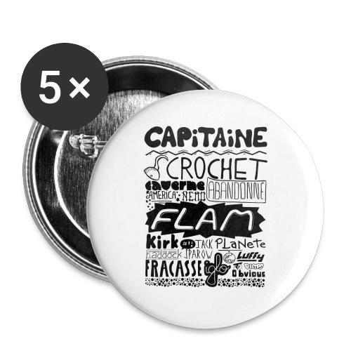 capitaine - Lot de 5 grands badges (56 mm)