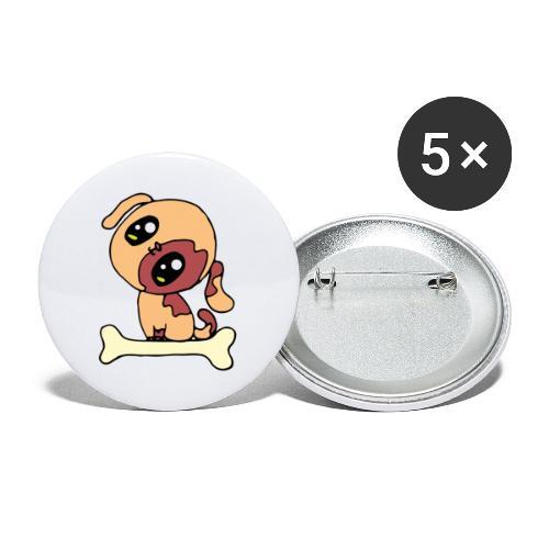 Kawaii le chien mignon - Lot de 5 grands badges (56 mm)