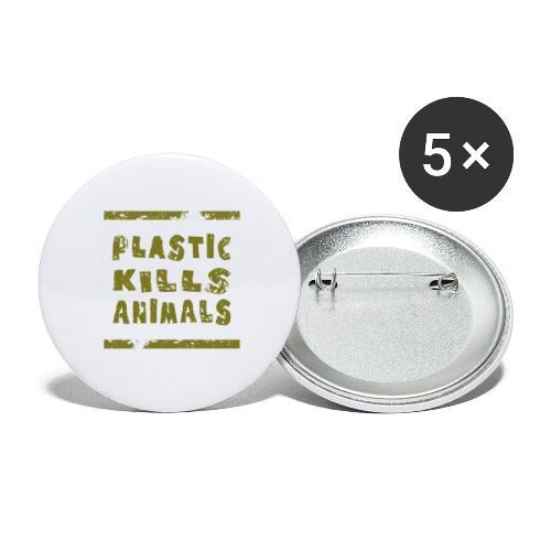Plastic Kills Animals - Plastic Dood Dieren - Buttons groot 56 mm (5-pack)