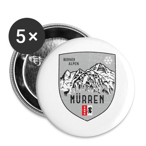 Eiger, Mönch und Jungfrau mit Mürren Flagge - Buttons large 2.2''/56 mm(5-pack)