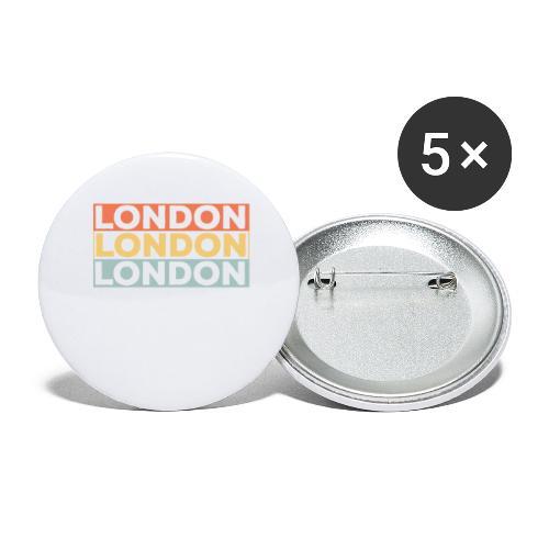 Vintage London Souvenir - Retro Streifen London - Buttons groß 56 mm (5er Pack)