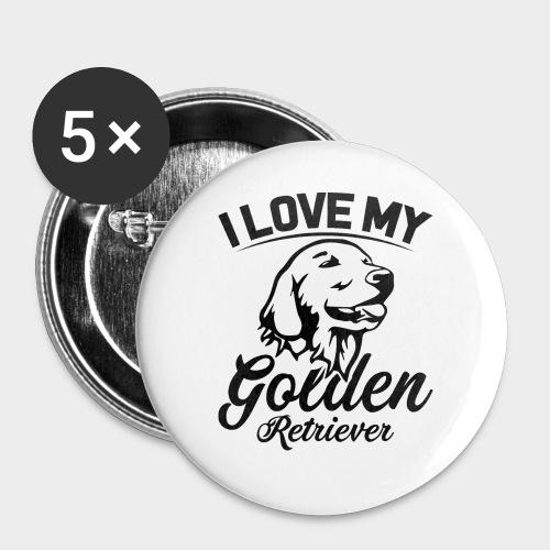 I LOVE MY GOLDEN RETRIEVER - Buttons groß 56 mm (5er Pack)